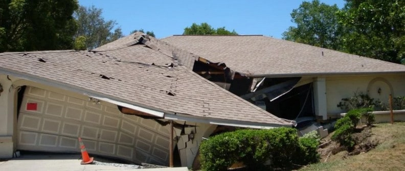 house sinking due to damaged foundations
